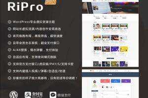 [组合]Ripro8.7+ jizhi chlid 5.6极致子主题-wordpress付费资源下载主题