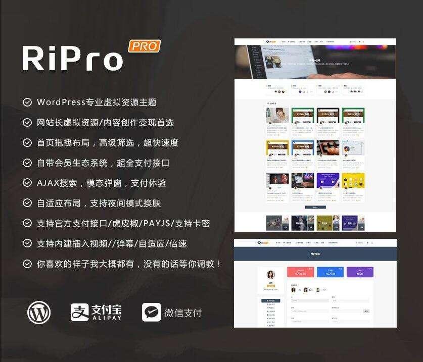 [组合] RIpro主题8.6版+logohe美化子主题-WordPress付费资源主题